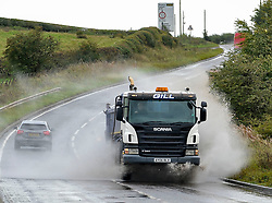 Traffic in atrocious conditions caused by spray whipped up by Storm Ali on the A73 near Cleland in North Lanarkshire on Wednesday afternoon.<br /> <br /> © Dave Johnston / EEm