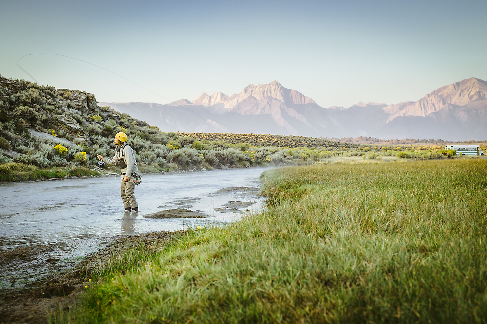 Michael fly fishing at Hot Creek. Mammoth Lakes, CA | G-Project Gear