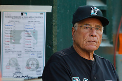 June 29, 2011; Oakland, CA, USA; Florida Marlins interim manager Jack McKeon (25) stands next to his line up card in the dugout during the first inning against the Oakland Athletics at the O.co Coliseum.  Florida defeated Oakland 3-0.