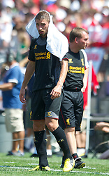 BALTIMORE, MD - Saturday, July 28, 2012: Liverpool Fabio Borini keeps cool with an iced towel after the goalless draw against Tottenham Hotspur during a pre-season friendly match at the M&T Bank Stadium. (Pic by David Rawcliffe/Propaganda)