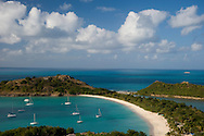 An aerial view of the white sand on the beach at Long Bay, Antigua,The West Indies, The Caribbean