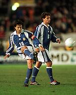 11.10.2000, Olympic Stadium, Helsinki, Finland. FIFA World Cup 2002 Qualifying Match Finland v England..Jari Litmanen (Finland) takes a free kick, Simo Valakari looks on..©JUHA TAMMINEN
