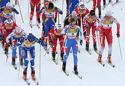 Aino Kaisa Saarinen (1), Marianna Longa (3) and  Petra Majdic of Slovenia  at Ladies` Pursuit 7,5 km Classic + 7,5 km Free at FIS Nordic World Ski Championships Liberec 2008, on February 21, 2009, in Vestec, Liberec, Czech Republic. (Photo by Vid Ponikvar / Sportida)