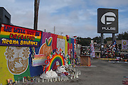 Tributes are left at a makeshift memorial around the Pulse Nightclub December 18, 2016 in Orlando, Florida. On June 12, 2016 49 people were killed and 53 injured in the deadliest mass shooting by a single gunman in U.S. history, and the deadliest terrorist attack on U.S. soil since the events of September 11, 2001.