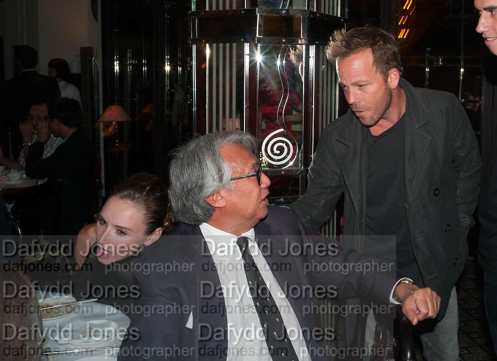 SIR DAVID TANG; STEPHEN DORFF, Dinner in aid of the China Tiger Revival hosted by Sir David Tang and Stephen Fry  at China Tang, Park Lane, London. 1 October 2013. ,