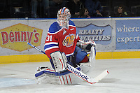 KELOWNA, CANADA, FEBRUARY 15: Laurent Brossoit #31 of the Edmonton Oil Kings warms up in net at the Kelowna Rockets on February 15, 2012 at Prospera Place in Kelowna, British Columbia, Canada (Photo by Marissa Baecker/Shoot the Breeze) *** Local Caption ***