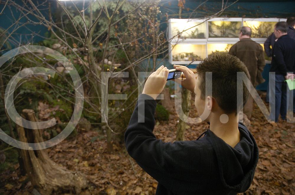 RIJSSEN<br /> Cultuur vogelshow in gebouw Luchtvermaak van de vogelvereniging in Rijssen. Er was zelfs een stukje natuur nagebouwd wat sommige bezoekers natuurlijk vast moesten leggen op het mobieltje.<br /> <br /> Editie: NY<br /> <br /> fotografie frank uijlenbroek&copy;2006 michiel van de velde TT20061109