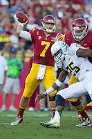 03 November 2012: Quarterback (7) Matt Barkley of the USC Trojans passes the ball against the Oregon Ducks during the first half of Oregon's  62-51victory over USC at the Los Angeles Memorial Coliseum in Los Angeles, CA.