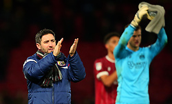 Bristol City head coach Lee Johnson leads his players to applaud the traveling fans at Watford - Mandatory by-line: Robbie Stephenson/JMP - 06/01/2018 - FOOTBALL - Vicarage Road - Watford, England - Watford v Bristol City - Emirates FA Cup third round proper