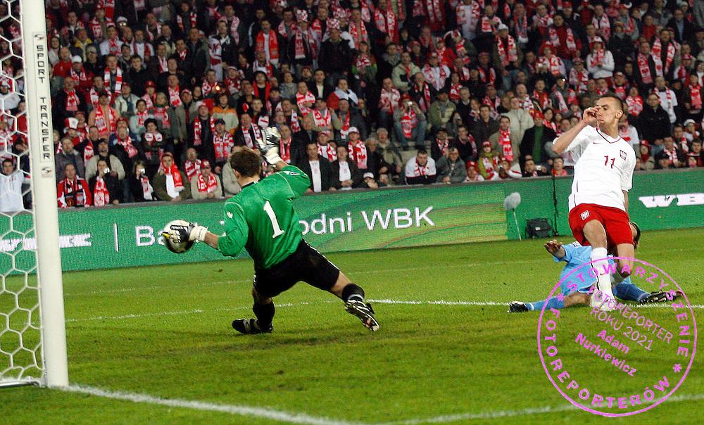 FIFA World Cup European Qualifying Group 3.Poland v San Marino.Saturday 1st of April 2009.Ireneusz Jelen strzela bramke dla Polski ..Photo by : Piotr Hawalej / WROFOTO