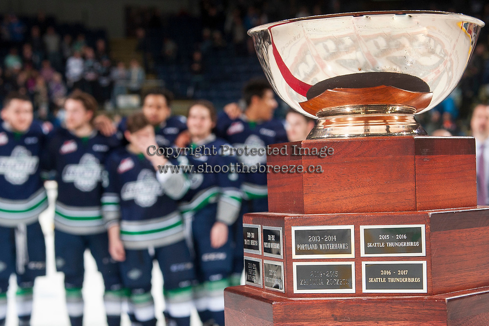 KELOWNA, CANADA - APRIL 30: The Western Conference Championship cup stands on the table for presentation to the Seattle Thunderbirds against the Kelowna Rockets on April 30, 2017 at Prospera Place in Kelowna, British Columbia, Canada.  (Photo by Marissa Baecker/Shoot the Breeze)  *** Local Caption ***