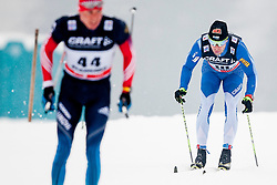 Alexander Legkov of Russia behind him Lari lehtonen of Finland during mens 10km Classic individual start of the Tour de Ski 2014 of the FIS cross country World cup on January 4th, 2014 in Cross Country Centre Lago di Tesero, Val di Fiemme, Italy. (Photo by Urban Urbanc / Sportida)