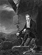 Walter Scott (1771-1832) Scottish poet and novelist: seated on stone, accompanied by dog, in 1808, the year his poem 'Marmion' was published. Steel engraving after portrait by Raeburn.