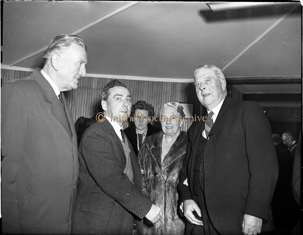 05/02/1960<br /> 02/05/1060<br /> 05 February 1960 <br /> Premiere of Mise Eire at the Regal Cinema, Dublin.  Image shows on right, Dr James Ryan, Minister for Finance.