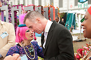 ZANDRA RHODES; GARY RHODES, PRESS PREVIEW. The RHS Chelsea Flower Show 2011. The Royal Hospital grounds. Chelsea. London. 23 May 2011. <br /> <br />  , -DO NOT ARCHIVE-© Copyright Photograph by Dafydd Jones. 248 Clapham Rd. London SW9 0PZ. Tel 0207 820 0771. www.dafjones.com.