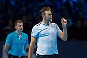 Jack Sock of the United States disputes a line call during the ATP World Tour Finals at the O2 Arena, London, United Kingdom on 12 November 2017. Photo by Martin Cole.