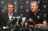 NZ Cricket CEO Justin Vaughan and John Wright as Wright is named as the new Black Caps New Zealand Cricket Head Coach at a press conference at Sky City Grand, Auckland, Monday 20 December 2010. Photo: Andrew Cornaga/photosport.co.nz