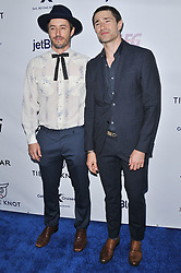 (L-R) Blue Hamilton and Matt Dallas arrives at Jessie Tyler Ferguson's 'Tie The Knot' 5 Year Anniversary celebration held at NeueHouse Hollywood in Los Angeles, CA on Thursday, October 12, 2017. (Photo By Sthanlee B. Mirador/Sipa USA)