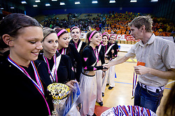 Cheerleaders of Gimnazija Bezigrad at cup and medal ceremony, on April 22, 2009, in Hall Tivoli, Ljubljana, Slovenia. (Photo by Vid Ponikvar / Sportida)