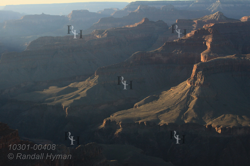 View in late September at sunset looking eastward from Hopi Point on the South Rim of Grand Canyon National Park, Arizona.