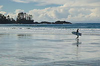 Chesterman Beach near Tofino, BC, features a wide beach of soft sand perfect for walking at low tide, and a gentle surf that attracts surfers from all over the world.