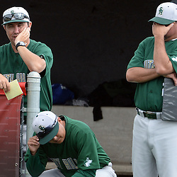 South Hills head coach Darren Murphy, left, reacts along with his coaching staff after Glendora takers a five run lead in the fifth inning of a prep baseball game at Glendora High School in Glendora, Calif., on Friday, May 15, 2015. Glendora won 5-0.