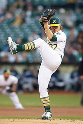 OAKLAND, CA - SEPTEMBER 09:  Daniel Mengden #67 of the Oakland Athletics pitches against the Seattle Mariners during the first inning at the Oakland Coliseum on September 9, 2016 in Oakland, California. (Photo by Jason O. Watson/Getty Images) *** Local Caption *** Daniel Mengden