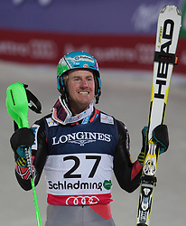 11.02.2013, Planai, Schladming, AUT, FIS Weltmeisterschaften Ski Alpin, Super Kombination, Slalom, Herren, Siegerpraesentation, im Bild Ted Ligety (USA, 1. Platz) // Ted Ligety of United States of America, 1st place Winners Presentation, after teir runs at Mens Super Combined Slalom at the FIS Ski World Championships 2013 at the Planai Course, Schladming, Austria on 2013/02/11. EXPA Pictures © 2013, PhotoCredit: EXPA/ Sammy Minkoff