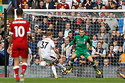 Burnley midfielder Scott Arfield (37) scores to make it 0-1 during the Premier League match between Liverpool and Burnley at Anfield, Liverpool, England on 16 September 2017. Photo by Craig Galloway.