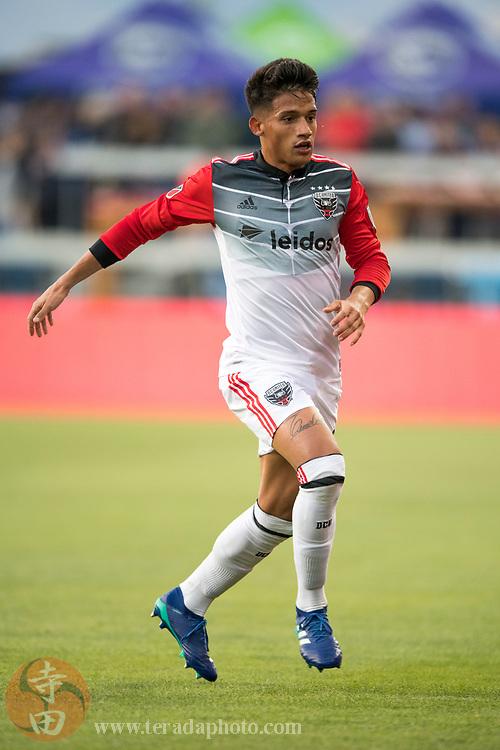May 19, 2018; San Jose, CA, USA; D.C. United midfielder Yamil Asad (22) during the first half against the San Jose Earthquakes at Avaya Stadium.