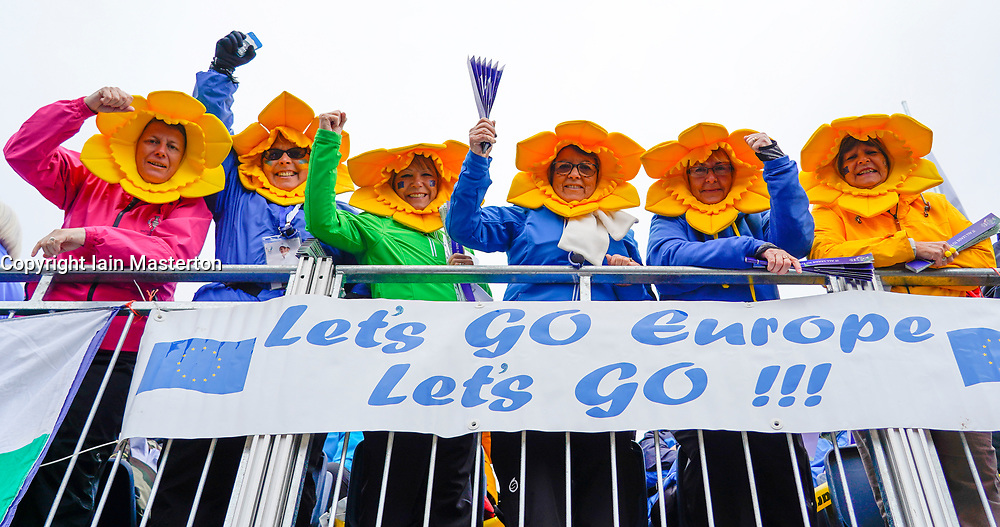 Solheim Cup 2019 at Centenary Course at Gleneagles in Scotland, UK. Welsh Team Europe fans in stand beside the 1st tee on Sunday morning.