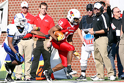 22 October 2011: Ashton Leggett is pursued up the sidelines by Calvin Burnett during an NCAA football game  the Indiana State Sycamores lost to the Illinois State Redbirds (ISU) 17-14 at Hancock Stadium in Normal Illinois.