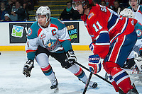 KELOWNA, CANADA -JANUARY 29: Madison Bowey #4 of the Kelowna Rockets attempts to block a shot on the goal by the Spokane Chiefs on January 29, 2014 at Prospera Place in Kelowna, British Columbia, Canada.   (Photo by Marissa Baecker/Getty Images)  *** Local Caption *** Madison Bowey;