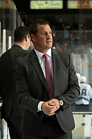 KELOWNA, CANADA - OCTOBER 23:  Adam Foote exits the bench after his first win as a WHL coach for the Kelowna Rockets against the Swift Current Broncos on October 23, 2018 at Prospera Place in Kelowna, British Columbia, Canada.  (Photo by Marissa Baecker/Shoot the Breeze)