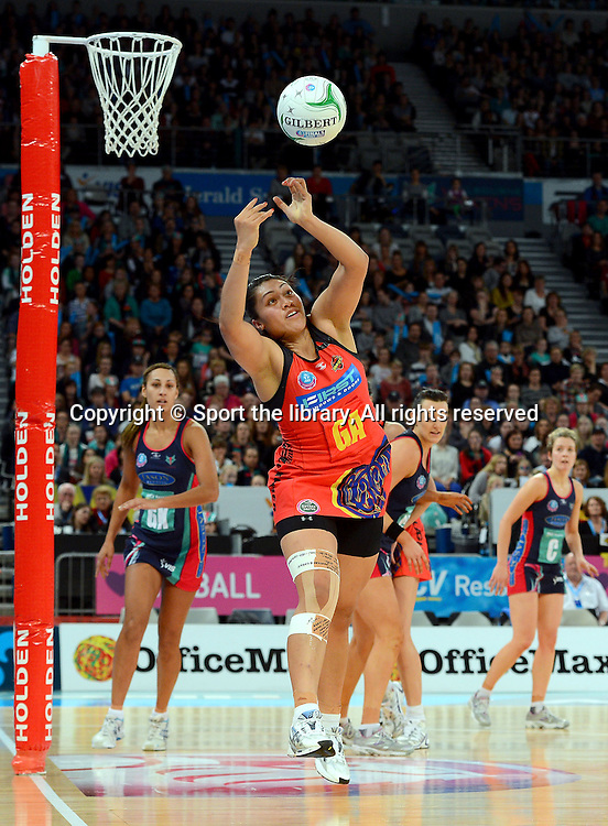 Juliana Naoupu (Magic)<br /> 2012 ANZ Netball Championships / finals<br /> Melbourne Vixens vs WBOP Magic<br /> Sunday July 22nd 2012 <br /> Hisense Arena/ Melbourne Australia <br /> &copy; Sport the library / Jeff Crow