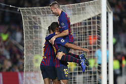 October 24, 2018 - Barcelona, Spain - Barcelona, Spain, October 24, 2018: Rafinha Alcantara of FC Barcelona celebrates  with Philippe Coutinho and Arthur after scoring his side's opening goal during the UEFA Champions League, Group B football match between FC Barcelona and FC Internazionale on October 24, 2018 at Camp Nou stadium in Barcelona, Spain (Credit Image: © Manuel Blondeau via ZUMA Wire)