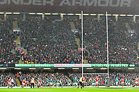Rugby Union - 2019 Guinness Six Nations Championship - Wales vs. Ireland<br /> <br /> Gareth Anscombe of Wales kicks a penalty on the stroke of half time to increase wales' lead, at the Principality Stadium (Millennium Stadium).<br /> <br /> COLORSPORT/WINSTON BYNORTH