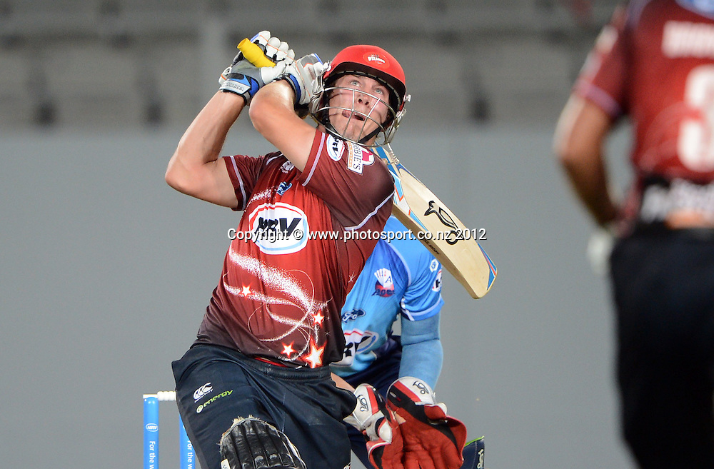 George Worker during the HRV Cup Twenty20 Cricket match between Auckland Aces and Canterbury Wizards at Eden Park on Friday 21 December 2012. Photo: Andrew Cornaga/Photosport.co.nz