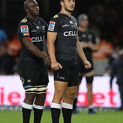 DURBAN, SOUTH AFRICA - APRIL 14: Tera Mtembu of the Cell C Sharks with Andre Esterhuizen of the Cell C Sharks during the Super Rugby match between Cell C Sharks and Vodacom Bulls at Jonsson Kings Park Stadium on April 14, 2018 in Durban, South Africa. (Photo by Steve Haag/Gallo Images)