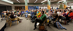 Forum discussion of issues surrounding deaths of African-Americans by police and is sponsored by the Diversity Center, Women's Center and CCES held in the Scandinavian Center at PLU on Thursday, Dec. 4, 2014. (PLU Photo/John Froschauer)