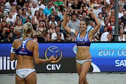 Kim Behrens and Anni Schumacher of Germany celebrate at Ljubljana Beach Volley 2017, on July 22, 2017 in Ljubljana, Slovenia. Photo by Morgan Kristan / Sportida