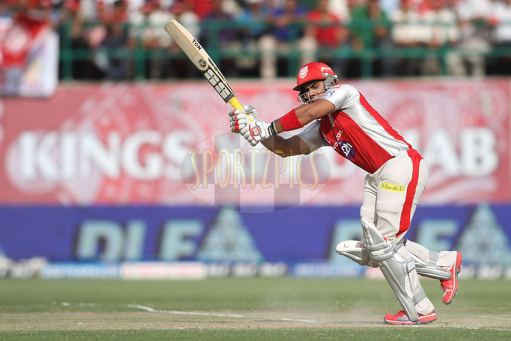 Siddharth Chitnis of the Kings XI Punjab plays a delivery down the legside during match 69 of the the Indian Premier League ( IPL) 2012  between The Kings X1 Punjab and The Delhi Daredevils held at the HPCA Stadium, Dharamsala, on the 19th May 2012..Photo by Shaun Roy/IPL/SPORTZPICS
