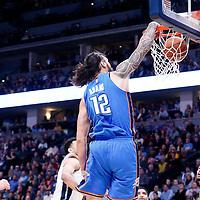 09 November 2017: Oklahoma City Thunder center Steven Adams (12) dunks the ball during the Denver Nuggets 102-94 victory over the Oklahoma City Thunder, at the Pepsi Center, Denver, Colorado, USA.