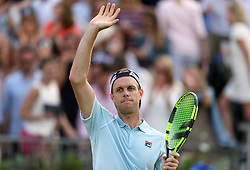 USA's Sam Querrey celebrates beating Great Britain's Jay Clarke during day one of the Fever-Tree Championship at the Queens Club, London.