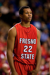 February 27, 2010; San Jose, CA, USA;  Fresno State Bulldogs center Greg Smith (22) during the first half against the San Jose State Spartans at The Event Center.  San Jose State defeated Fresno State 72-45.