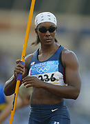 Shelia Burrell of the United States competes in the heptathlon javelin in the 2004 Olympics in Athens, Greece on Saturday, August 21, 2004. Burrell finished fourth overall with 6,296 points.