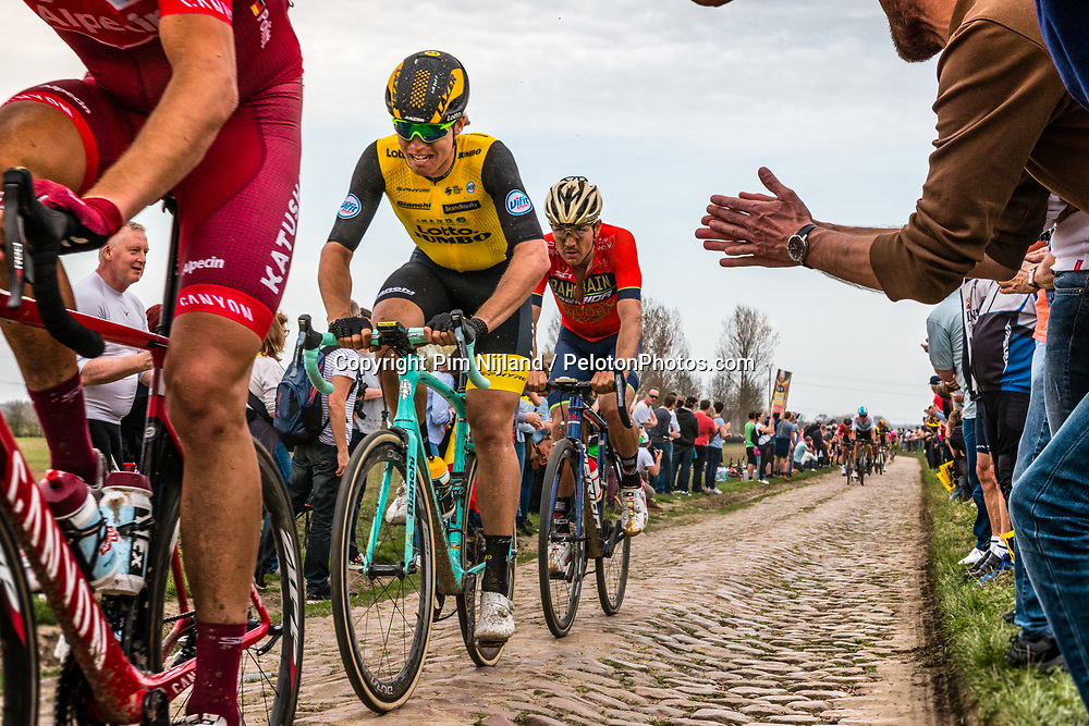 Group with Amund Grondahl JANSEN from Norway of Team LottoNL-Jumbo at the 5 star cobblestone sector 11 of Mons-en-Pévèle during the 2018 Paris-Roubaix race, France, 8 April 2018, Photo by Pim Nijland / PelotonPhotos.com | All photos usage must carry mandatory copyright credit (Peloton Photos | Pim Nijland)