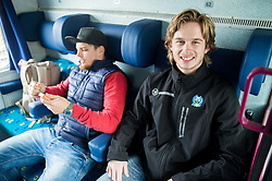 Luka Gracnar and Ziga Jeglic during departure to Budapest of Slovenian Ice Hockey National Team, on April 17, 2017 in Railway station, Ljubljana, Slovenia. Photo by Vid Ponikvar / Sportida