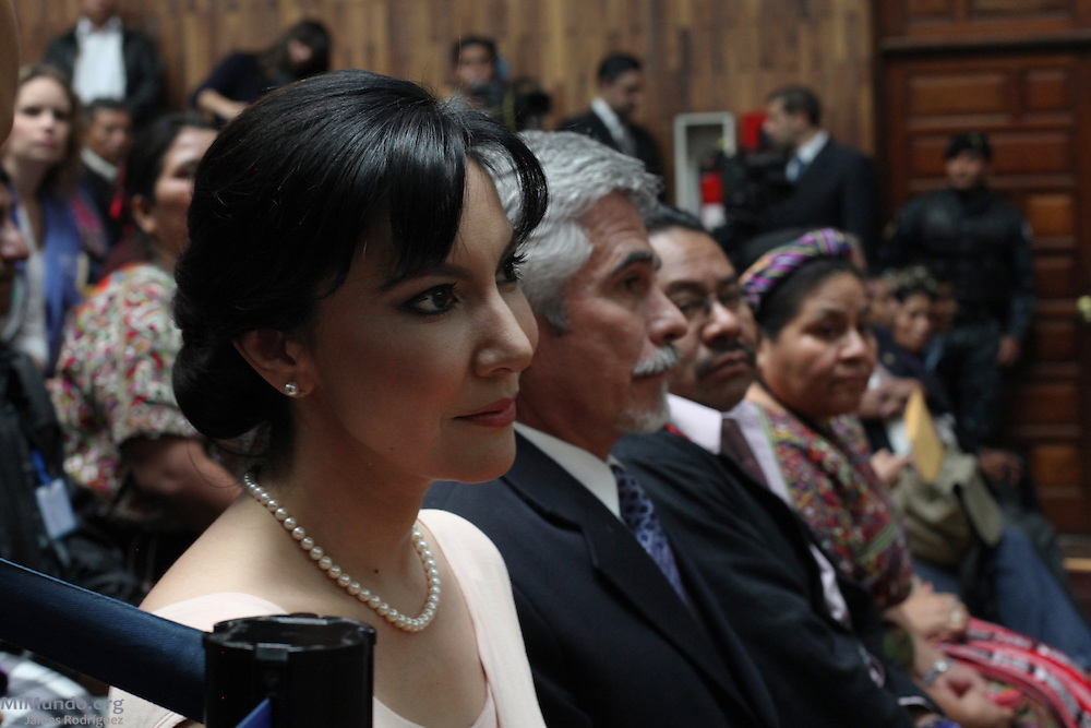 Zury Ríos, daughter of former de facto dictator Efraín Ríos Montt and current congresswoman attends the beginning of the long awaited Genocide trial begins against former de facto dictator Efrain Rios Montt and his head of Intelligence Jose Mauricio Rodriguez Sanchez. Guatemala, Guatemala. March 19, 2013.