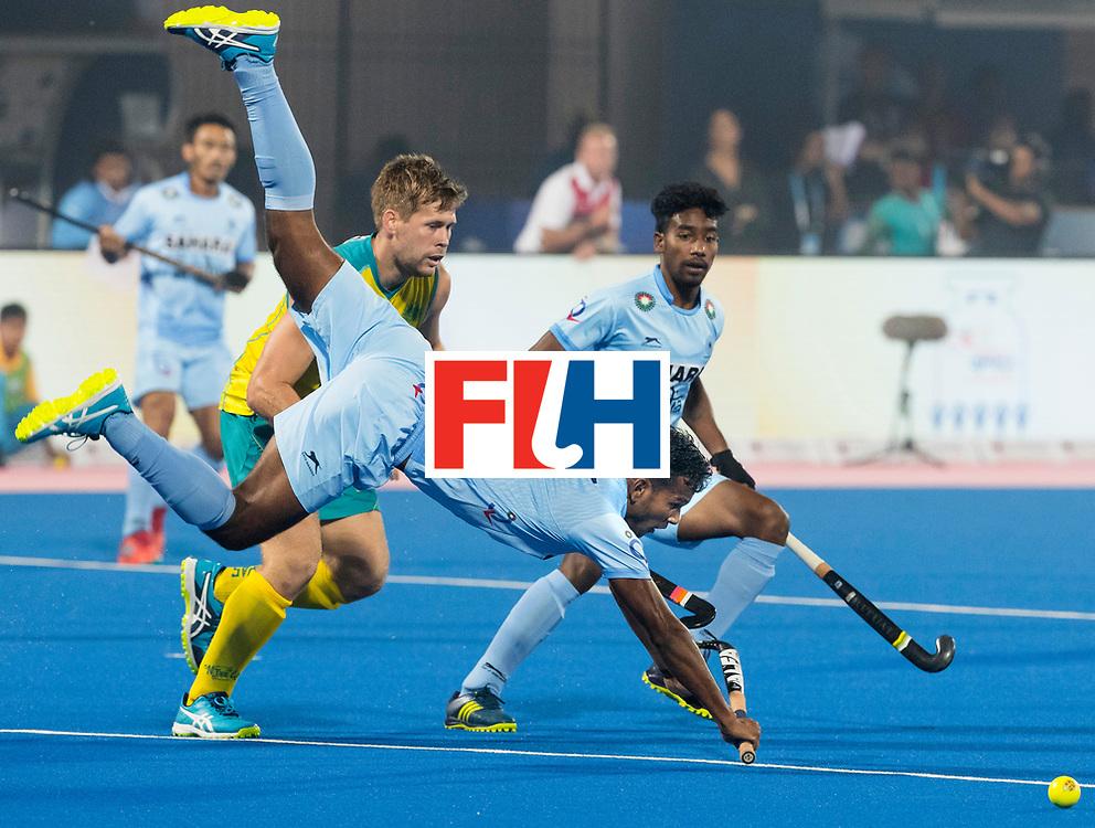 BHUBANESWAR - The Odisha Men's Hockey World League Final . Match ID 02. Australia v India. Amit Rohidas (Ind)  with Aaron Kleinschmidt (Aus) .WORLDSPORTPICS COPYRIGHT  KOEN SUYK